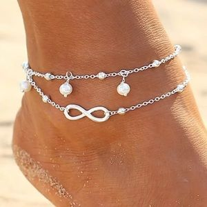 ❤️gorgeous silver infinity pearl anklet bracelet